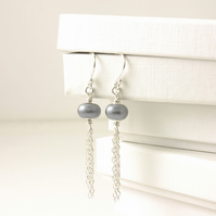 Grey and Silver Tassle Earrings