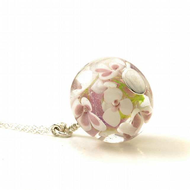 Long Handmade Pink Glass Flower Necklace
