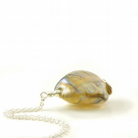 Golden Handmade Glass and Sterling Silver Necklace