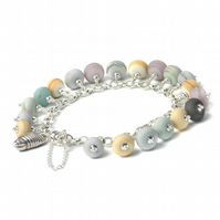 Sterling Silver Charm Bracelet with Handmade Silver Shell and Lampwork Glass