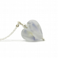 Frosted Glass Heart Necklace on Sterling Silver Chain