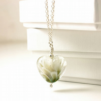 White and Gold Glass Heart Necklace