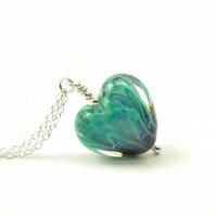 Peacock Lampwork Glass Heart Necklace
