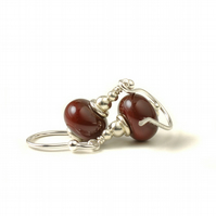 Dark Red Glass Earrings