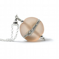Nude Peach Lampwork Glass and Sterling Silver Necklace