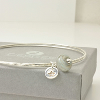 Handmade Glass and Sterling Silver Charm Bangles