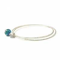 Peacock Sterling Silver Charm Bangles