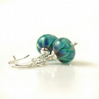 Teal Lampwork Glass Earrings