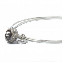 Sterling Silver Grey Star Charm Bangles