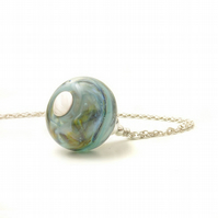 Handmade Lampwork Glass Necklace in Blue