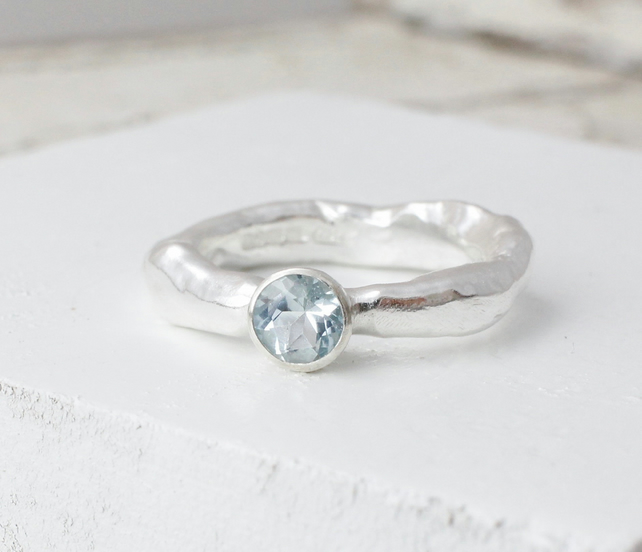 Aquamarine Rustic Ring - Handmade In Recycled Sterling Silver