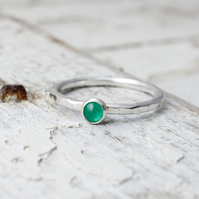 Emerald Stacking Ring - Handmade In Recycled Sterling Silver