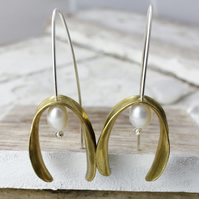 Mistletoe Earrings With Freshwater Pearls - Handmade In Sterling Silver & Brass