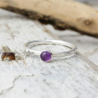 Amethyst Stacking Ring - Handmade In Recycled Sterling Silver
