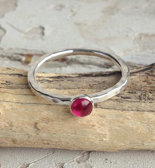Ruby Stacking Ring - Handmade In Recycled Sterling Silver