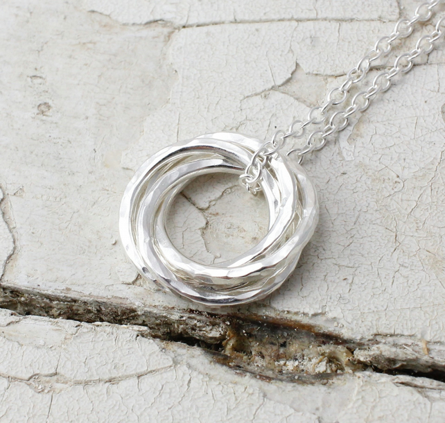 Four Interlocking Circles Necklace Handmade In Recycled Sterling Silver