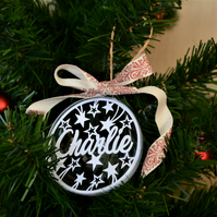 Personalised papercut christmas bauble with stars