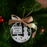 Personalised papercut bauble - baby's first christmas - snowman