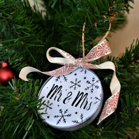 Mr & Mrs papercut Christmas bauble
