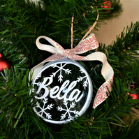 Personalised papercut christmas bauble - snowflakes