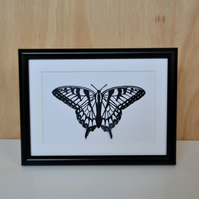 Butterfly papercut - cut by hand - swallowtail butterfly wall art (framed)
