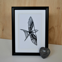 Papercut of Swallow bird - hand cut - framed