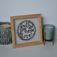 Faith Hope Love Papercut Wallart
