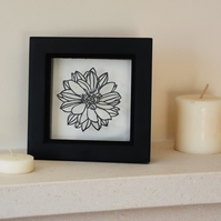 Papercut Dahlia flower - black frame