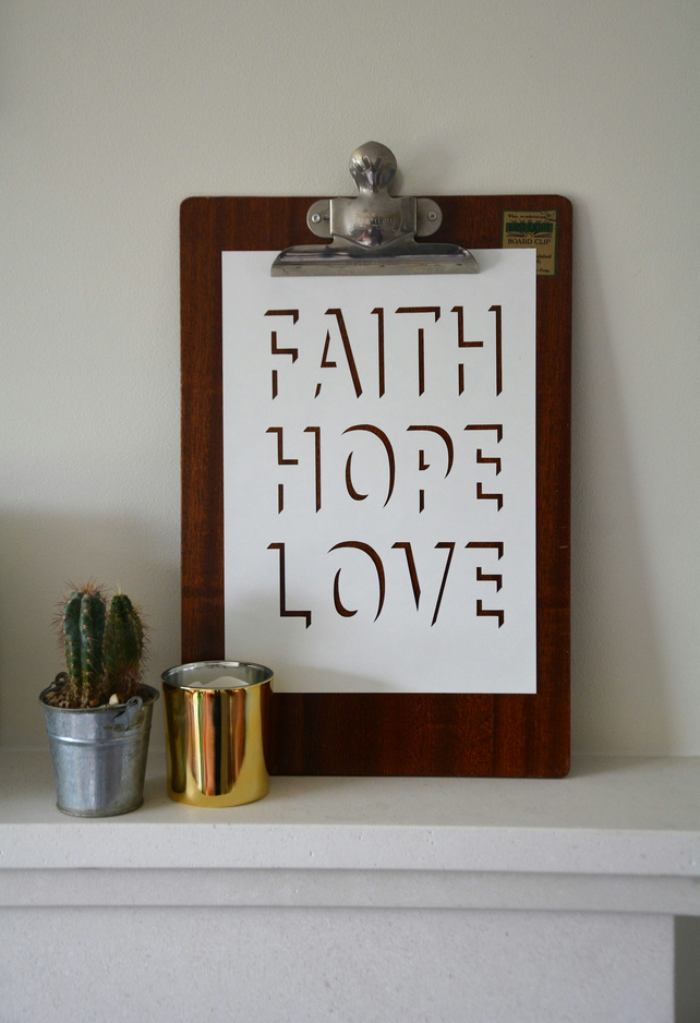 Faith Hope Love Typographic Papercut
