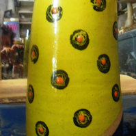 "Yellow handpainted ""rose"" ceramic stoneware vase."