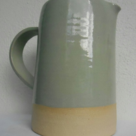 Mint grey Wheel thrown stoneware jug.