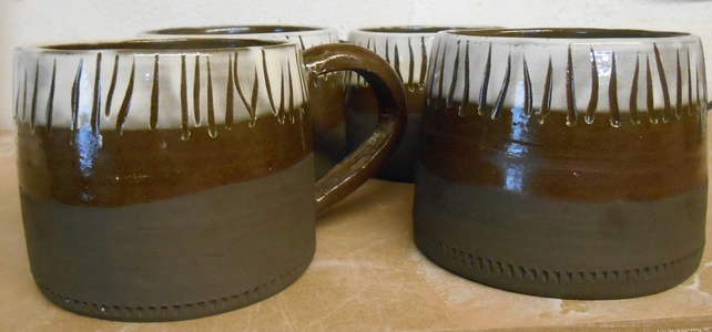 Mugs for Coffee black and white stripe with spot inside. 4 available.