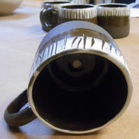 Coffee Mugs, black and white stripe with spot inside. 4 available.