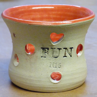 Fun red t light holder Ceramic