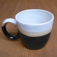 Stoneware Ceramic shiny black cup.