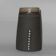Black clay  wheel thrown Stoneware 8 dot Vase.
