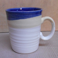 Stoneware Midnight Blue and white striped mug.