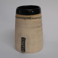 White clay 6 dot Vase.