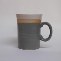 Mid Grey Striped Stoneware Ceramic Mug.