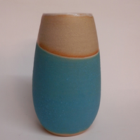 Turquoise Textured Dipped Stoneware Vase.