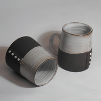 Black clay 4 dot MUG Pair.