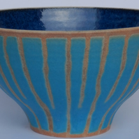 Turquoise Striped Bowl.
