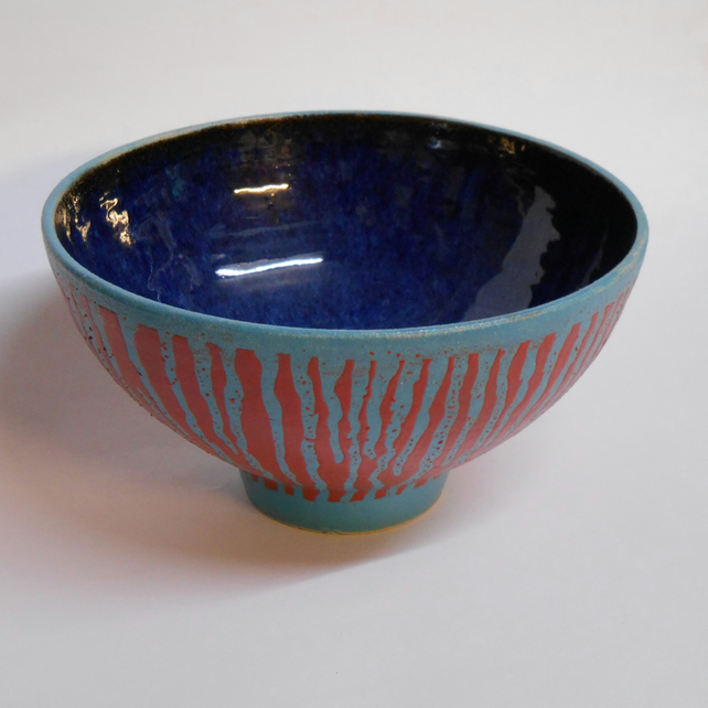 Unique One off Red and Blue Bowl.