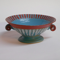 One off Petite Red White and Blue stemmed bowl with twizzles.