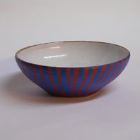 Gorgeous Petite stoneware red white and midnight blue bowl.