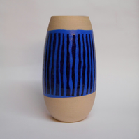 Midnight Blue striped Ceramic Vase.