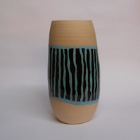 Pale Turquoise Blue striped Ceramic Vase.