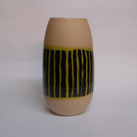 Pale Green striped Ceramic Vase.