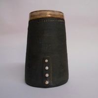 Black clay 4 dot Vase.