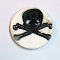 Black and white Porcelain Skull Button